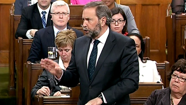Opposition Leader Tom Mulcair speaks about extensions to Canada's military involvement in Afghanistan in Ottawa, Wednesday, April 25, 2012.