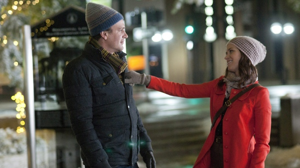 In this film image released by Universal Pictures Canada, Jason Segel, right, and Emily Blunt are shown in a scene from 'The Five-Year Engagement.'