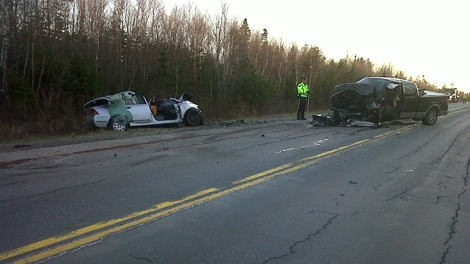 RCMP investigate a two vehicle accident on Nova Scotia Highway 107 Thursday evening.  The crash claimed the life of a 69 year old woman.