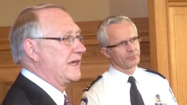 Gerald Tremblay, Mayor of Montreal, and Police Chief Marc Parent want a quick end to the tuition protests (April 26, 2012, CTV Montreal/Jason Clarke)