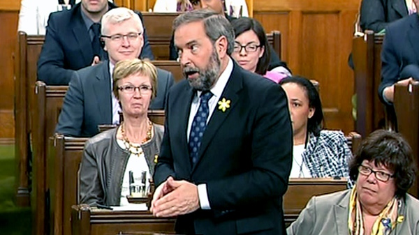 NDP Leader Thomas Mulcair grills Prime Minister Stephen Harper about the abortion debate in Ottawa, Thursday, April 26, 2012.