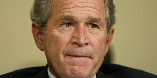 U.S. President Bush remarks on the failed bailout during his meeting with Ukraine's president, not shown at the White House in Washington on Monday, Sept. 29, 2008. (AP / Pablo Martinez Monsivais)
