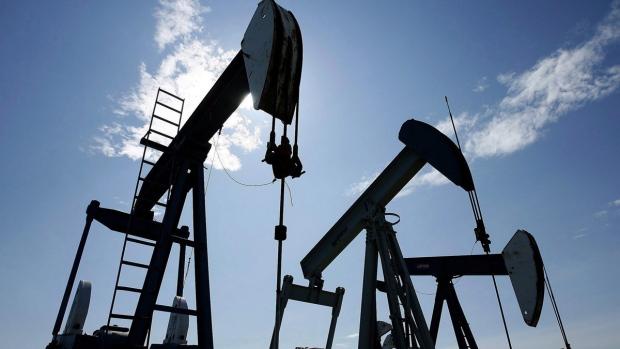 Pumpjacks at work pumping crude oil