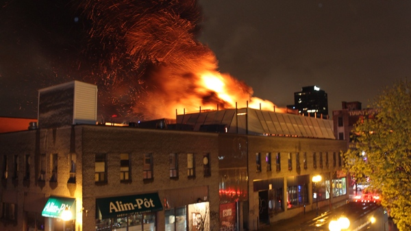 Chaz Desousa took this photo of a fire burning at Muzique nightclub on St. Laurent Blvd. (April 27, 2012)