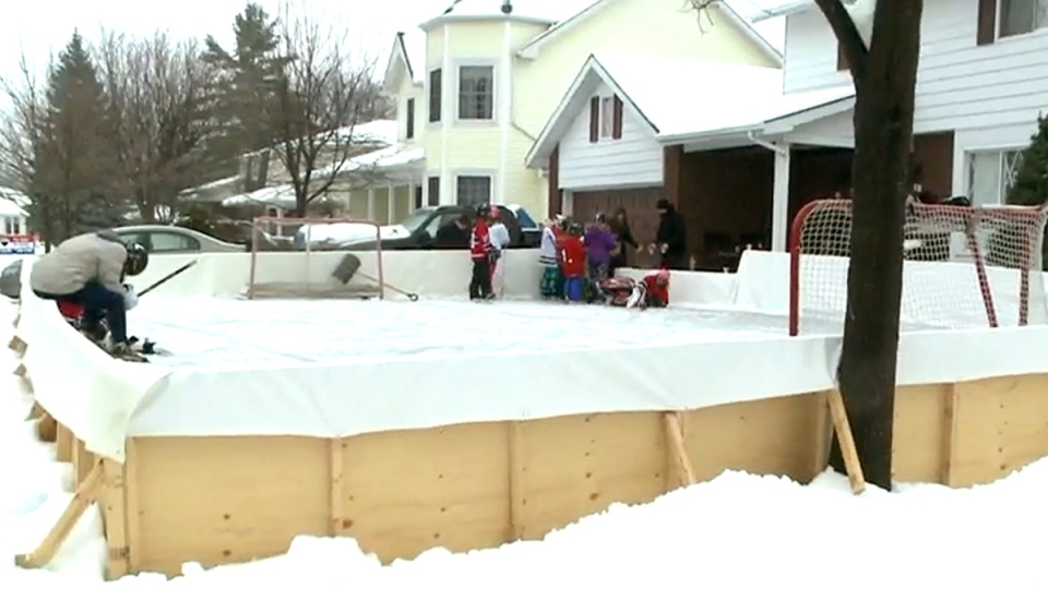 The Vincent family's ice rink on their front lawn in Cornwall, Ont., Monday, Jan. 5, 2014.