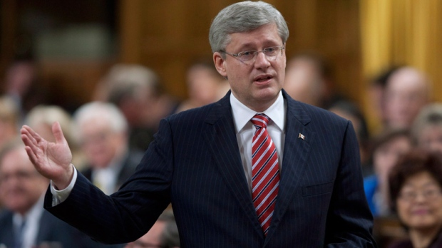 Prime Minister Stephen Harper responds to a question during Question Period in the House of Commons in Ottawa, Wednesday, April 25, 2012. (Adrian Wyld / THE CANADIAN PRESS)