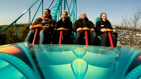 Canada's Wonderland gave passengers their first ride on the Leviathan roller coaster on Friday, April 27, 2012.