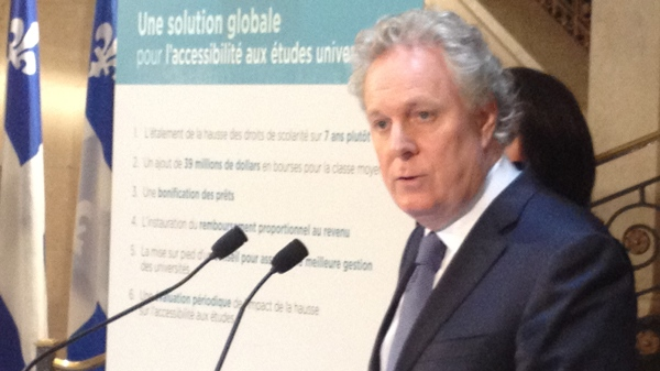 Premier Jean Charest announces the government's plan to ease into tuition hikes (April 27, 2012, CTV Montreal/Frederic Bissonnette)