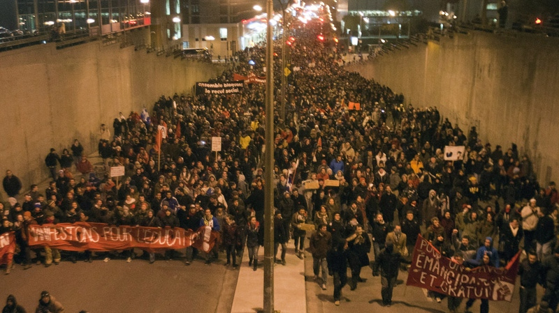 Students protest against tuition fee hikes Friday, April 27, 2012 in Montreal.THE CANADIAN PRESS/Ryan Remiorz