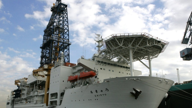 The Japanese scientific research ship CHIKYU, which houses the world's biggest deep-sea drill, is seen moored at Yokohamam Japan in this Dec. 15, 2005 file photo. (AP Photo/Katsumi Kasahara)