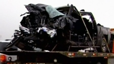 Seven people are dead and two remain in hospital in critical condition after a deadly crash on Highway 63 in Alberta, Friday, April 27, 2012.