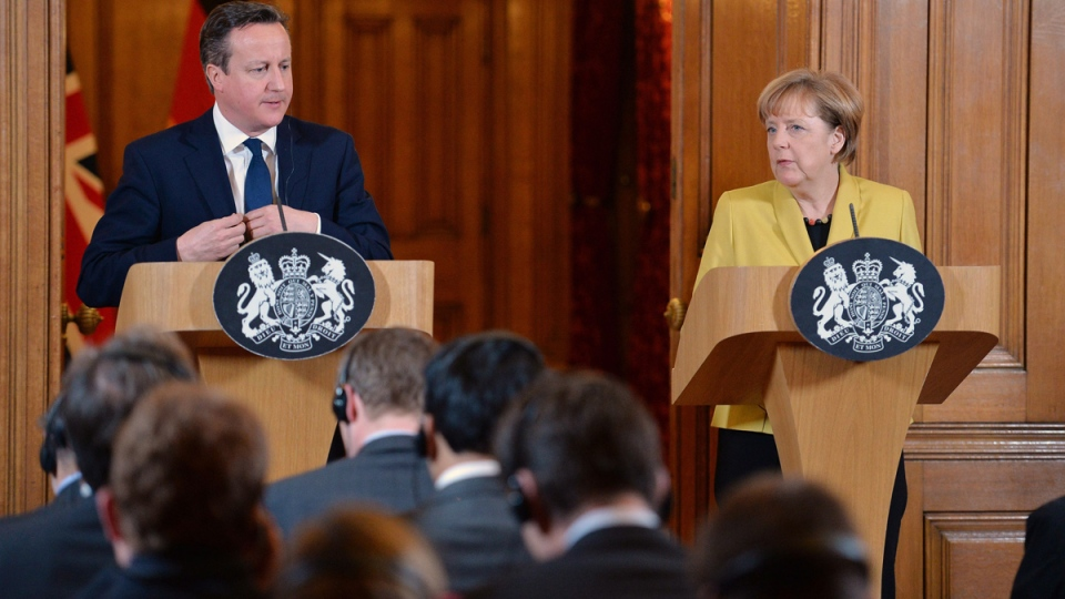 German Chancellor Angela Merkel, right, speaks during a joint news conference with British Prime Minister David Cameron following their talks at 10 Downing Street, London, Wednesday, Jan. 7, 2015. (AP / John Stillwell)