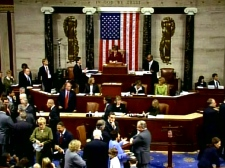 Members of the U.S. House of Representatives vote on the bailout, which resulted in a rejection, in Washington on Monday, Sept. 29, 2008.