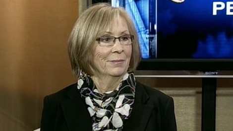 Sheila Fynes, the mother of late soldier Stuart Langridge appears on CTV's Question Period, Sunday, April 29, 2012.