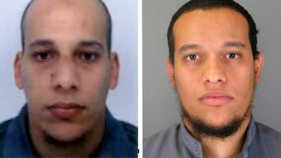 Cherif Kouachi, left, 32, and Said Kouachi, 34, in an image provided by the Paris Police Prefecture.