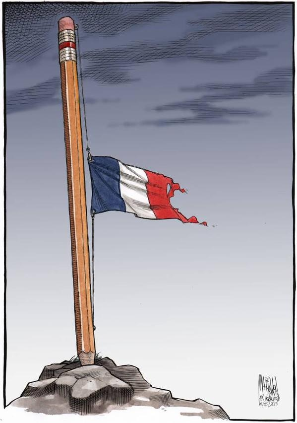 A cartoon tribute to the victims at Charlie Hebdo