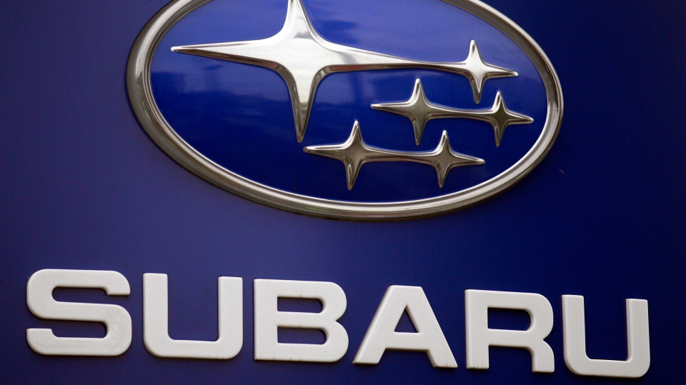 A Subaru logo is displayed on a sign at a dealer's lot, in Portland, Ore. on Aug. 31, 2011. (AP / Rick Bowmer)
