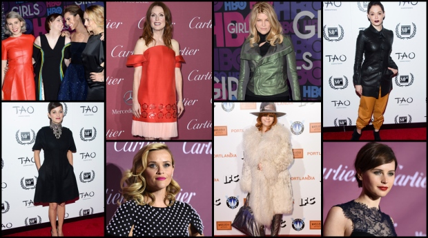 Leather made a prominent appearance on a number of red carpet events as the stars of 'Girls' stepped out for the premiere of the show's fourth season. CTVNews.ca takes a look at all of the latest Hollywood fashion statements.