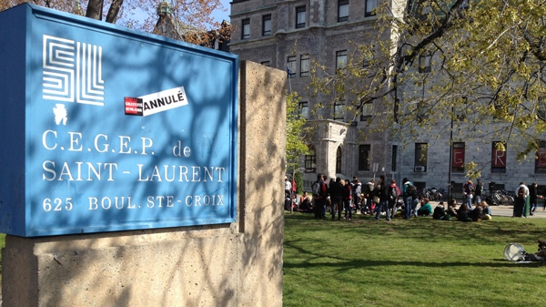 Dozens, then hundreds of students rallied at CEGEP St. Laurent Monday morning to show their opposition to a court injunction ordering classes to resume.(April 30, 2012. CTV Montreal/Jean-Luc Boulch)