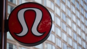 Lululemon Athletica's logo is seen on the outside of their new flagship store on Robson Street during its grand opening in downtown Vancouver, B.C., on Thursday August 21, 2014. (Darryl Dyck / THE CANADIAN PRESS)