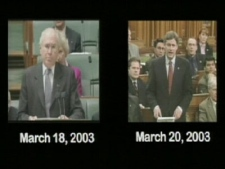 Stephen Harper and former Australian Prime Minister John Howard deliver very similar speeches side by side in this video released by the Liberal party on Tuesday, Sept. 30, 2008.