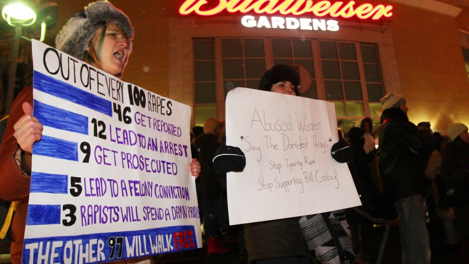 Demonstrators gather to protest comedian Bill Cosby's second performance in Canada at the Budweiser Gardens, in London, Ont. on Thursday January 8, 2015. (Dave Chidley / THE CANADIAN PRESS)
