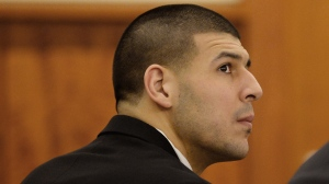 Former New England Patriots football player Aaron Hernandez attends a pretrial hearing in the first of two murder cases against him at Bristol County Superior Court in Fall River, Mass., on Tuesday, Jan. 6, 2015. (AP / CJ Gunther)