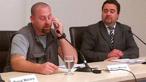 Medically discharged Cpl. Dennis Manuge, left, tears up in news conference in Halifax on Tuesday, May 1, 2012.