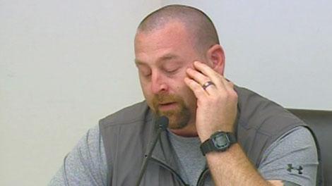 Injured veteran Dennis Manuge speaks in federal court, Tuesday, May 1, 2012.