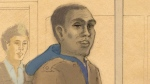 In this courtroom sketch, Christopher Husbands appears in court in Toronto on June 4, 2012. (Tammy Hoy / THE CANADIAN PRESS)