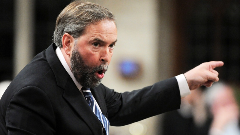 New Democratic Party leader Thomas Mulcair asks a question during Question Period in the House of Commons on Parliament Hill in Ottawa on Tuesday, May 1, 2012. (Sean Kilpatrick / THE CANADIAN PRESS)