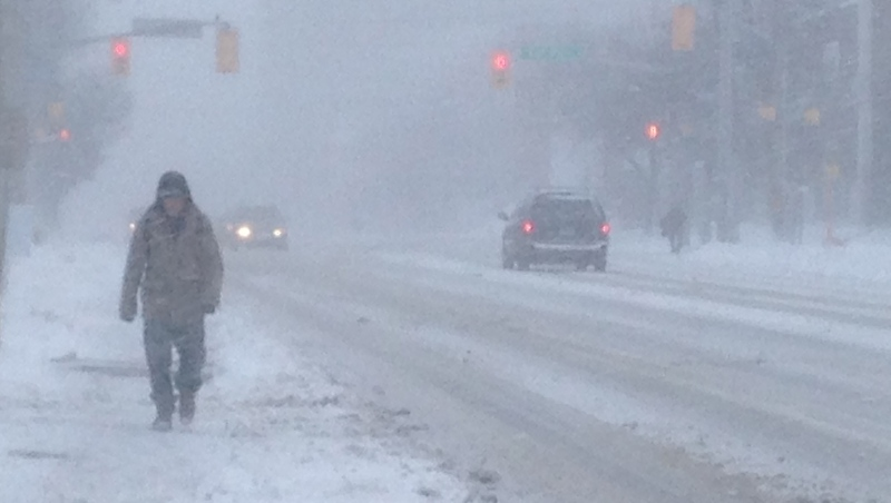 Snow seen on Weber Street in Kitchener in this undated file photo.