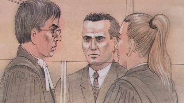 This court sketch shows Michael Rafferty during his first-degree murder trial in London, Ont., on Tuesday, May 1, 2012.