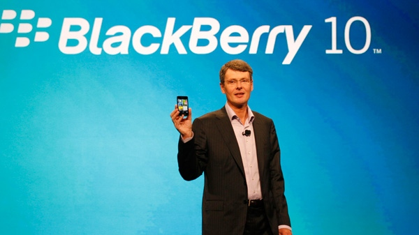 Thorsten Heins, president and CEO of Research In Motion, the company that makes BlackBerry, delivers the keynote speech during the BlackBerry World conference, Tuesday, May 1, 2012, in Orlando Fla. (AP / Reinhold Matay)