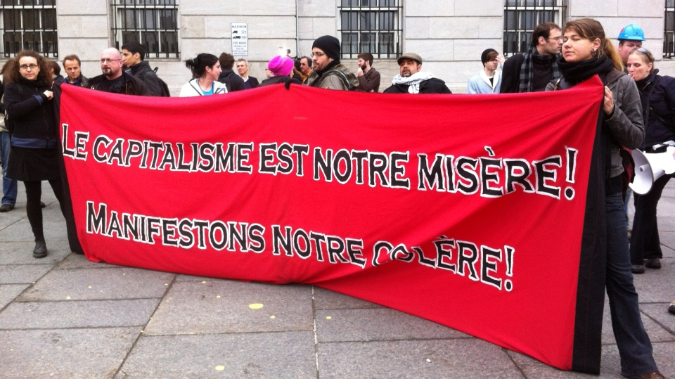 Protesters gathered at Champ de Mars for a May Day demonstration. (CTV Montreal/Marc Latendresse)