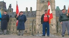 Veterans protest outside of Parliament Hill in Ottawa in this undated photo.