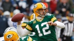 Green Bay Packers quarterback Aaron Rodgers throws a pass during the first half of an NFL divisional playoff football game against the Dallas Cowboys on Jan. 11, 2015, in Green Bay, Wis. (Matt Ludtke / AP Photo)