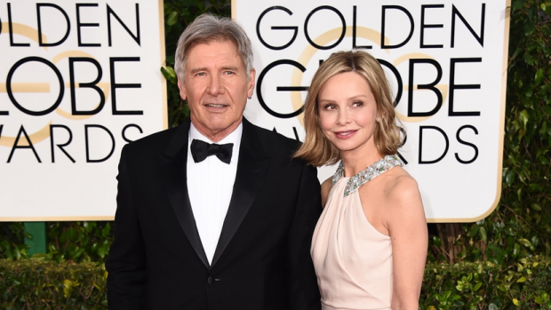 Harrison Ford, left, and Calista Flockhart arrive at the 72nd annual Golden Globe Awards at the Beverly Hilton Hotel on Sunday, Jan. 11, 2015, in Beverly Hills, Calif. (Photo by Jordan Strauss / Invision / AP)