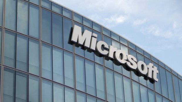 In this Oct. 6, 2009 file photo, the Microsoft logo is seen on the company's French branch office in Issy-Les-Moulineaux. (AP Photo/ Thibault Camus)