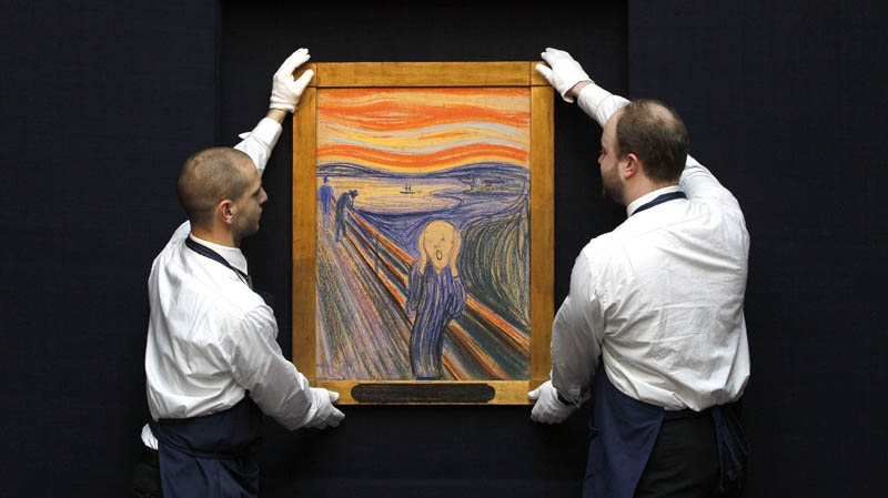 Edvard Munch's 'The Scream' is seen as it is hung for display at Sotheby's Auction Rooms in London, Thursday, April 12, 2012.