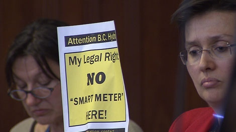 Opponents of BC Hydro's smart meter program attend a Vancouver city council meeting. May 2, 2012. (CTV)