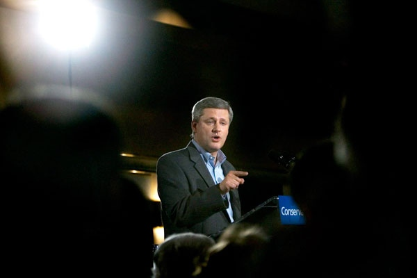 Conservative Party leader Stephen Harper delivers his campaign speech at a rally in Val D'Or, Que., on Monday Sept. 29, 2008. (Tom Hanson / THE CANADIAN PRESS)