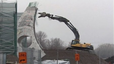 Construction suspended on Airport Parkway Bridge