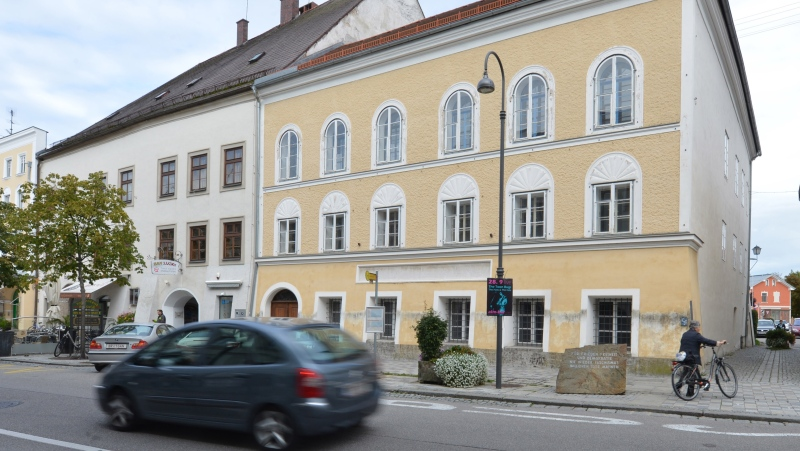 This Sept. 27, 2012 photo shows an exterior view of Adolf Hitler's birth house in Braunau am Inn, Austria. (AP Photo/Kerstin Joensson, File)