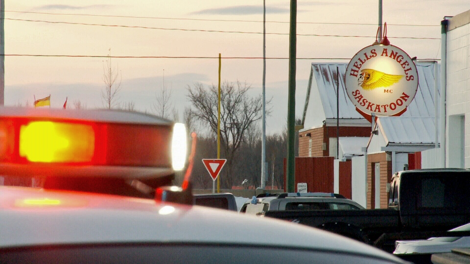 Saskatoon police on scene at the Hells Angels clubhouse on Jan. 14, 2015.