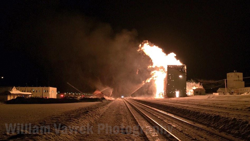 An historic grain elevator in Sexsmith, Alberta burned to the ground on Tuesday January 14, 2015. Image: William Vavrek Photgraphy