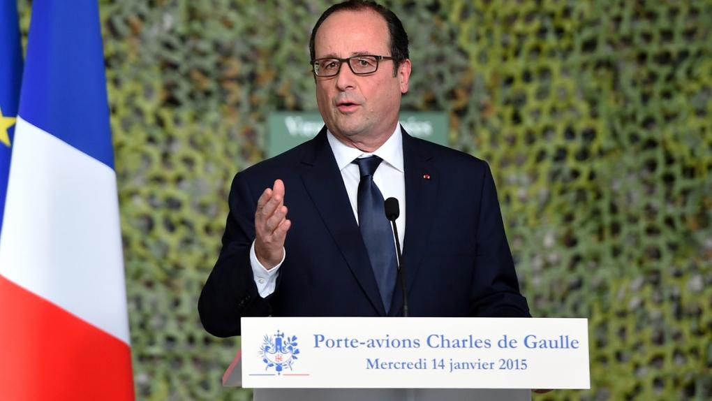 French President Francois Hollande on carrier