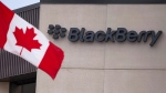 A Canadian flag flies at BlackBerry's headquarters in Waterloo, Ont., July 9, 2013. (Geoff Robins/The Canadian Press)