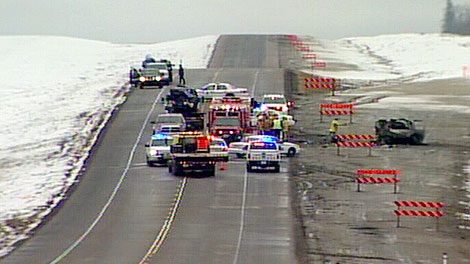 Emergency crews on the scene of a head-on collision on Hwy 63 on Friday, April 27.