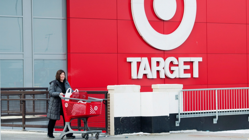 Laura Steele leaves a Target store after shopping in Toronto on Thursday, Jan. 15, 2015. (Nathan Denette  / THE CANADIAN PRESS)